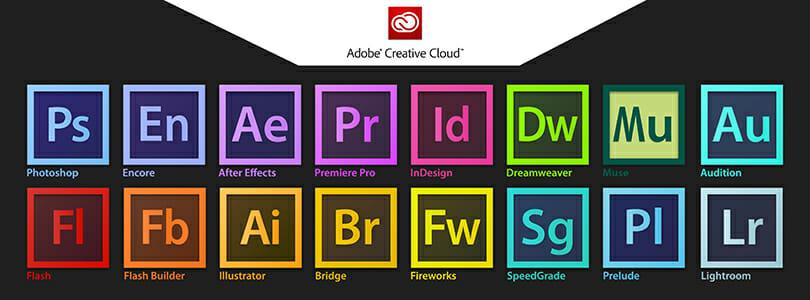 Les logos des différents outils de la Suite Adobe Creative Suite utilisés par Pro File Design